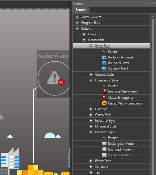 Выбор кнопки для навигации в проекте Movicon.Next