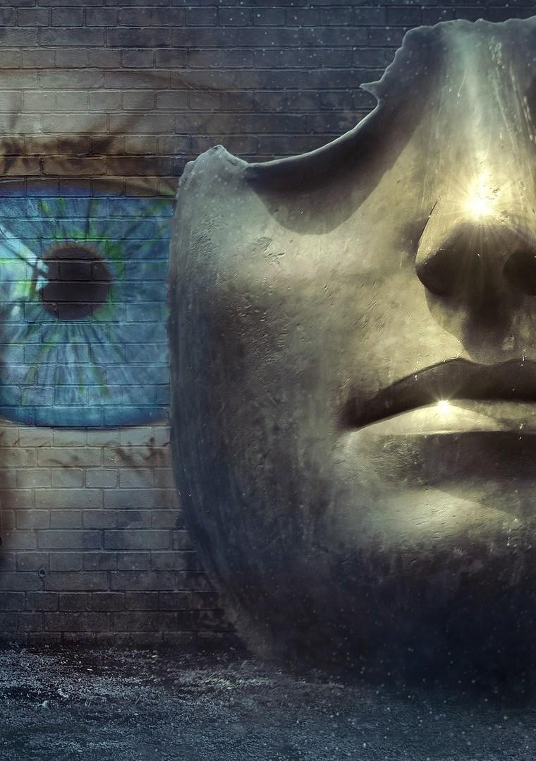 žena, oko a železná maska