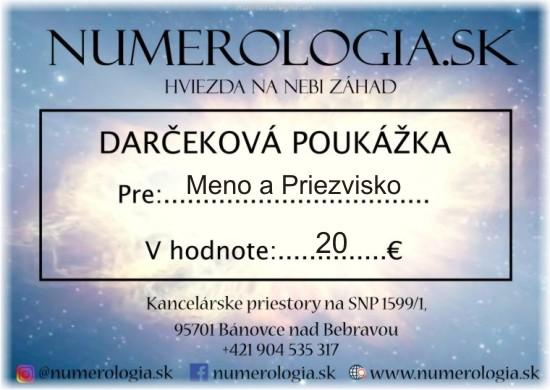 ukážka Darčeková poukážka 20 eur