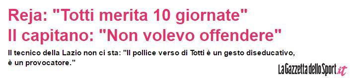 Francesco Totti gioca il suo ultimo derby. Lo ricordiamo con la provocazione del pollice verso.