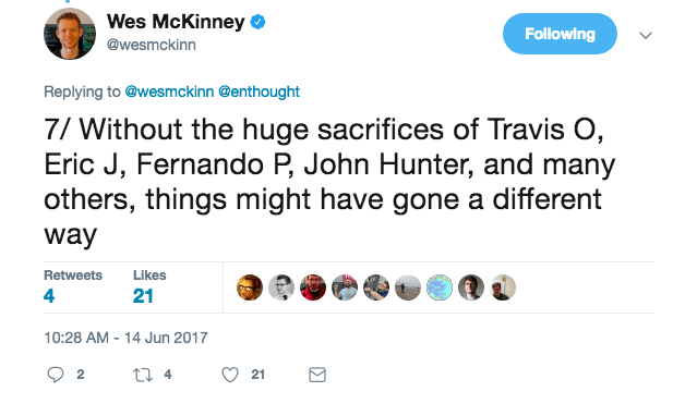 Without the huge sacrifices of Travis O, Eric J, Fernando P, John Hunter, and many others, things might have gone a different way