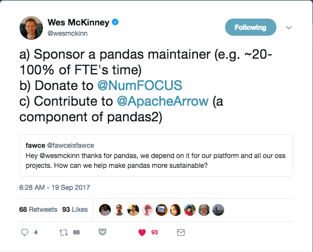 Wes McKinney tweet
