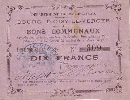 Banknote France 10 F Oisy Le Verger