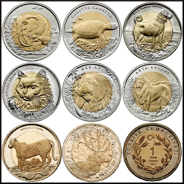 monedas lira turca animales