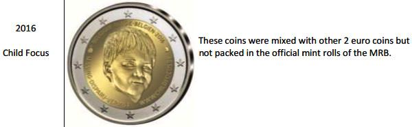 Estas monedas se mezclaron con otras 2 de 2 euros, pero no han sido envasadas en los rollos oficiales de la Casa de Moneda de Bélgica.