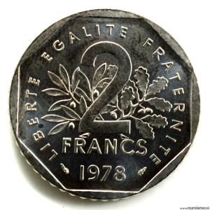 V République 2 Francs Essai 1978 Nickel