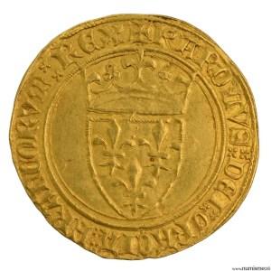 Charles VI écu d'or à la couronne frappé à Troyes