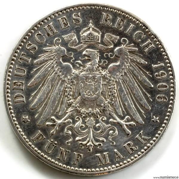 Allemagne Brême 5 mark 1906