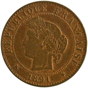 Third Republic 1 centime 1891 Paris