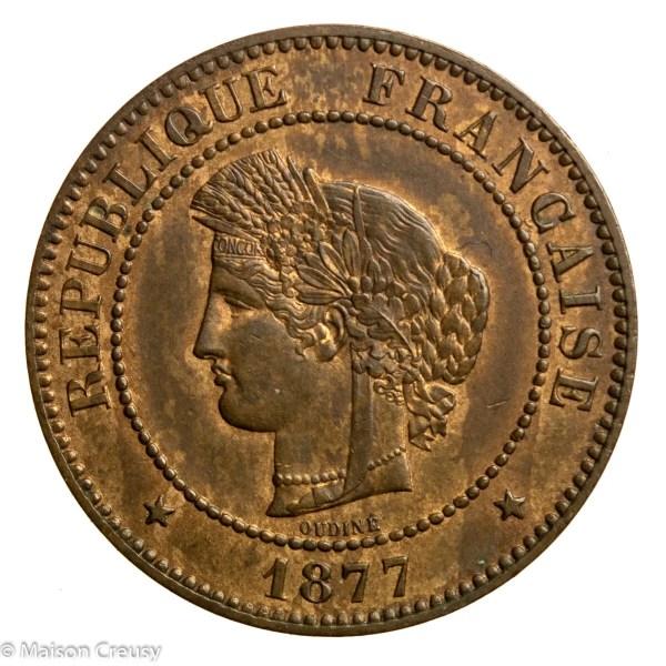 Third Republic 5 centimes Ceres 1877 Paris
