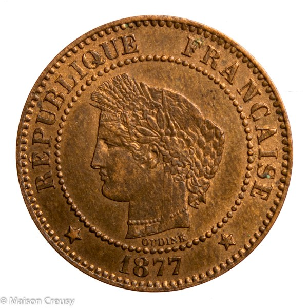 Third Republic 2 centimes Ceres 1877 Paris