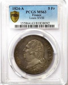 Louis XVIII 5 francs 1824 Paris PCGS MS63