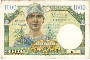 Tresor Francais 1000 francs 1947 pour les territoires occupés