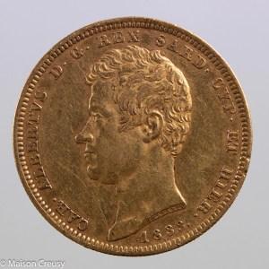 Italie Charles Albert 100 lire 1833 Turin