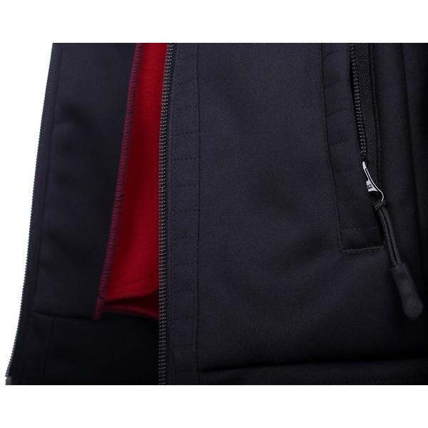 Lasten fleece takki, Qhp Sporttinen takki, jossa on pehmeä fleece sisäosa kontrastivärinä punainen.Varustettu vetoketjutaskuilla