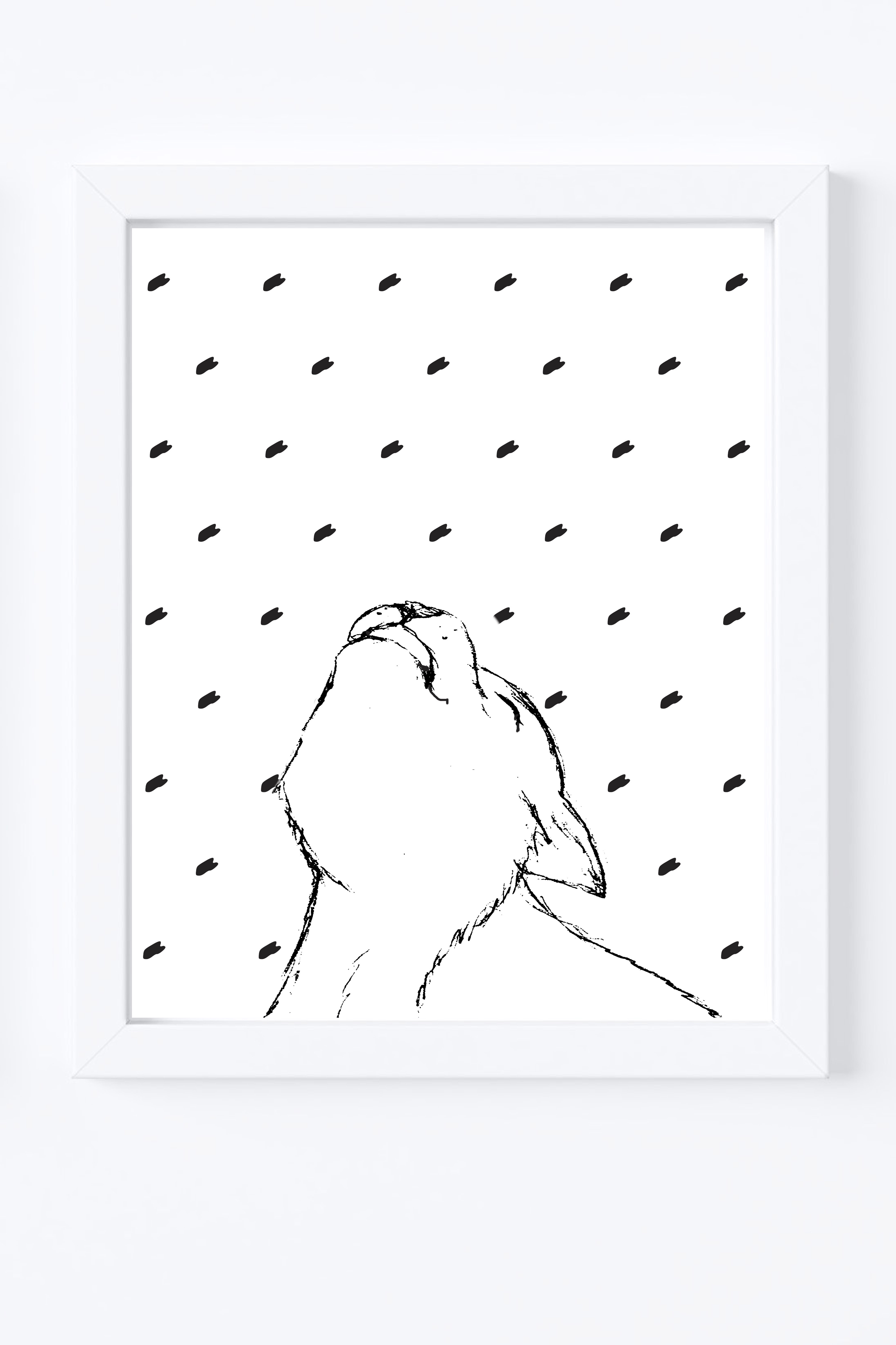 Wolf Illustration Instant Download Black And White