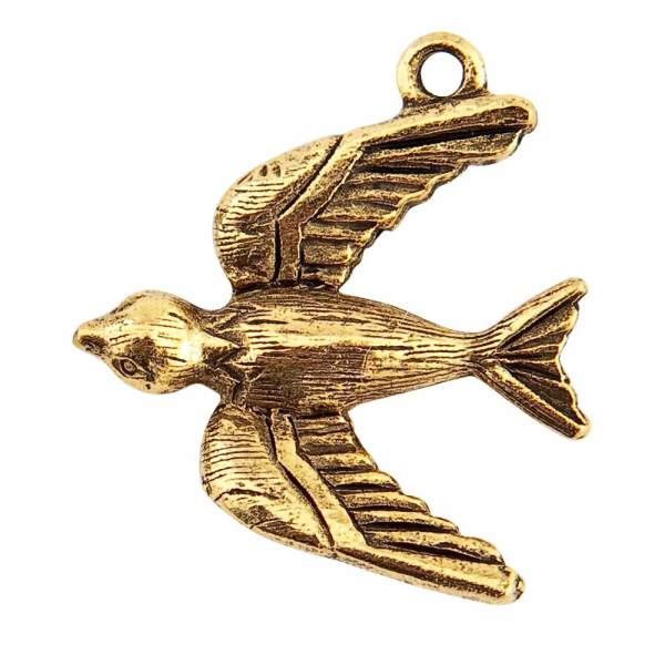 Bird Charm Antique Gold - Nunn Design