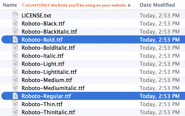 Google-Fonts-Conversion-Selection