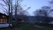 キャンプ場の夕景