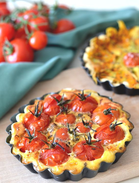mini quiche con pomodorini e fiori di zucca