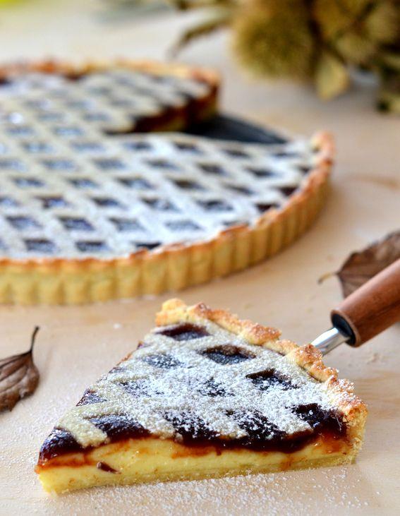 Crostata con confettura di castagne e crema pasticcera con reticolo Ingredienti: