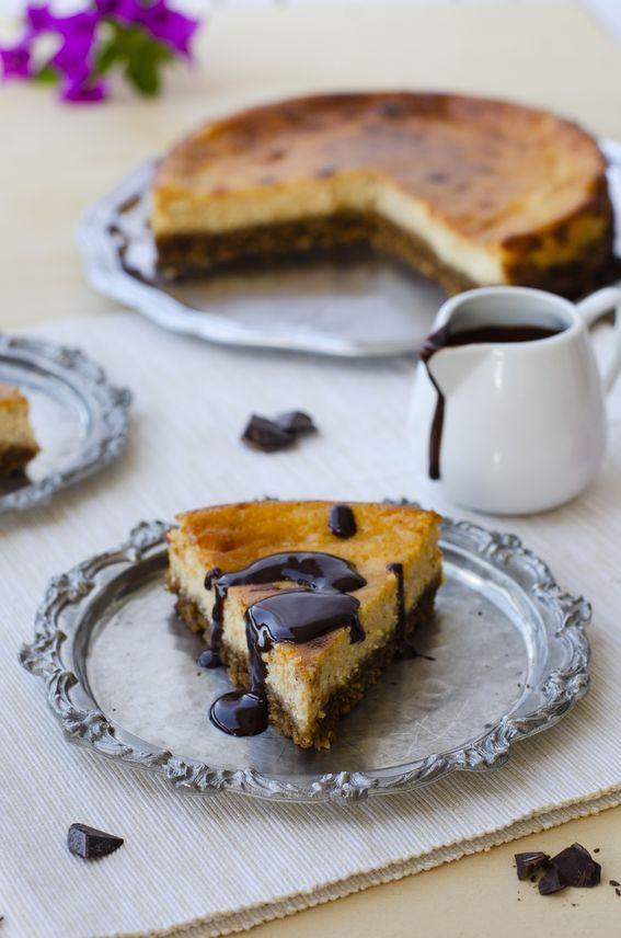 Cheesecake con crema di ricotta e zucca con ganache al cioccolato