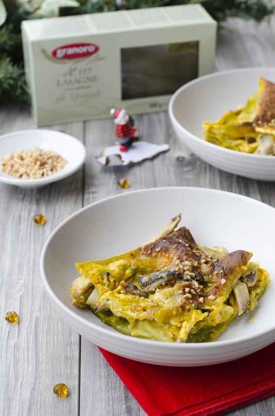 Lasagna con funghi cardoncelli e zucca senza besciamella