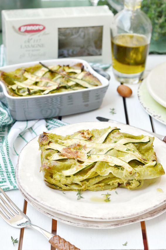 Lasagne con spinaci alle zucchine stracchino e filetti di acciuga