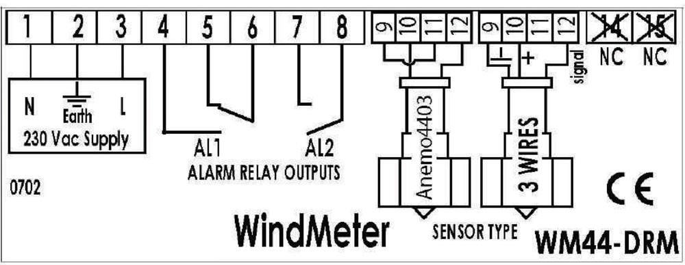 WM44-DRM din rail display unit anemometer relay output