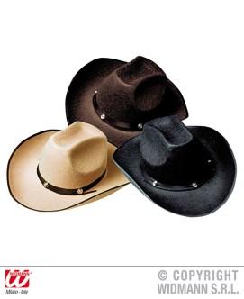 Cappello cowboy con borchie in feltro in 3 colori - cod. 2549E