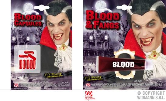 Set da 8 capsule di sangue finto - cod. 4024T - 2,00 € / Sangue gelatinoso e dentiera - cod. 4031D - 4,00 €
