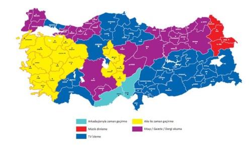 Tempo Libero in Turchia: Azzzurro (Passare il tempo con gli amici); Rosso (Ascoltare Musica); Blu (Guardare la TV); Giallo (Passare Tempo conla famiglia); Viola (Leggere Giornali / Riviste / Libri)