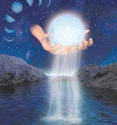 Hands holding the moon -light,  faiz, blessing flowing