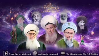 Shaykhs-Muhammad RasulAllah (s)-purple, Sharafuddin, Daghestani, Nazim Haqqani, Muhammad Adil, Nurjan Mirahmadi