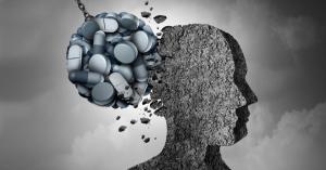 ball of pills hitting head, depression, anxiety, stress