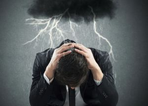 negative-energy-lightning-black cloud-over-man, protection, bad energy, attack