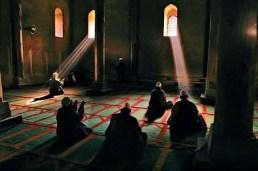 praying in mosque, praying light shining