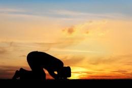 salah, sujood, prostration, sunset, man, silhouette