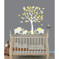 Yellow Safari Murals With Elephant Wall Decal For Baby Room