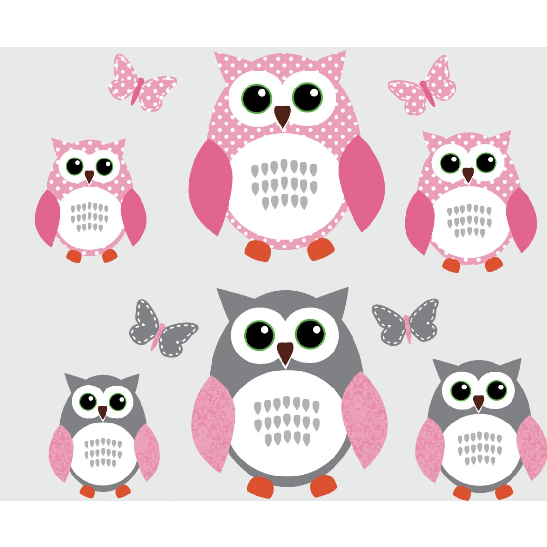 Animal Wallpaper For Kids Bedrooms Pink And Gray Owl Decal With Butterfly Wall Mural For