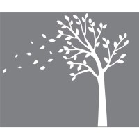 White Blowing Tree Wall Decals For Kids For Children