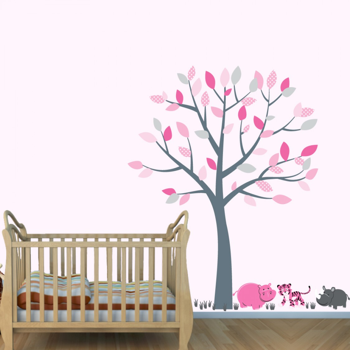 Gray Tree Wall Decals With Hippo Wall Art For Girls Rooms