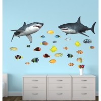 Wall Stickers Giant With Shark Wall Decor For Nursery or ...