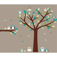 Teal Owl Wall Decal With Tree Wall Decals For Girls Bedrooms
