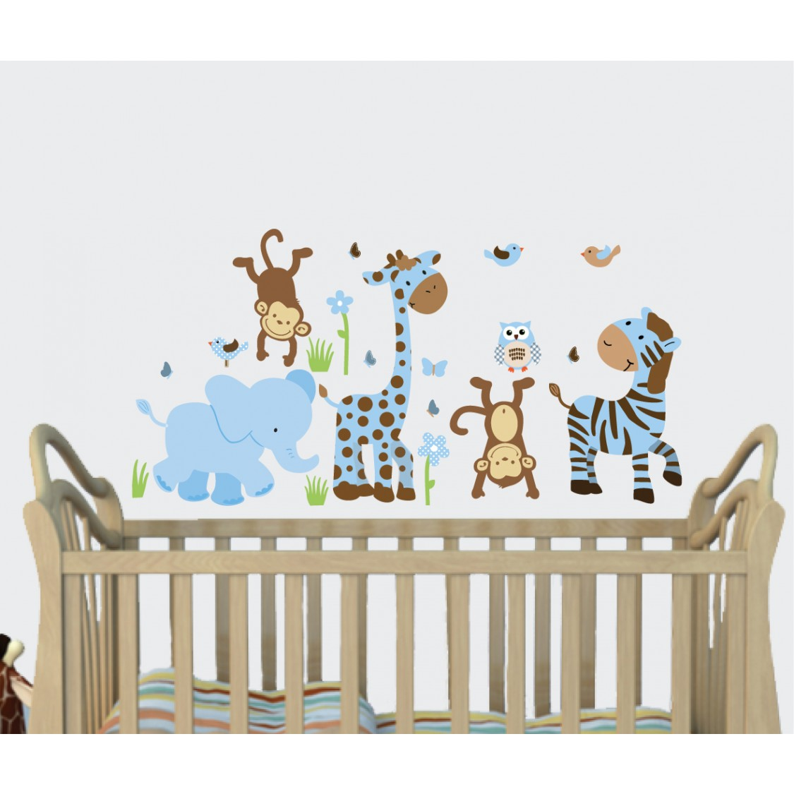 Blue & Brown Jungle Murals For Kids Rooms With Giraffe