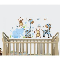 Blue & Brown Jungle Murals For Kids Rooms With Giraffe ...