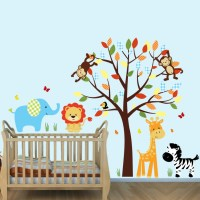 Colorful Jungle Wall Mural With Elephant Stickers For Boys