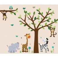 Jungle Murals For Kids Rooms With Elephant Wall Decals For ...