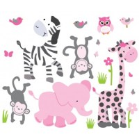 Pink & Gray Jungle Animal Wall Decals For Girls Bedrooms