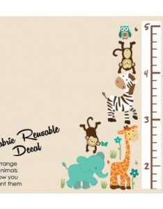 Teal safari wall stickers with child growth chart for children also jungle kids height rh nurserydecalsandmore